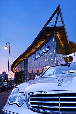 Branch office from Mercedes Benz in Berlin in the evening during dawn, Berlin, Germany