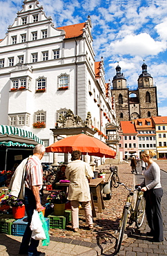 Farmer market on the town hall market in Wittenberg, Saxonia-Anhalt, Germany