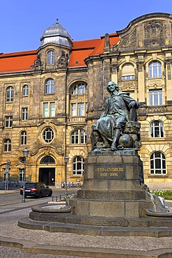 Memorial of Otto von Guericke and new townhall, Magdeburg, Saxony-Anhalt, Germany