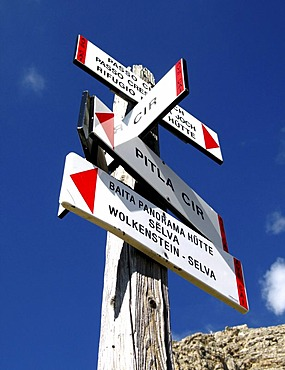 Signpost for hiker seen in South tyrol, Italy