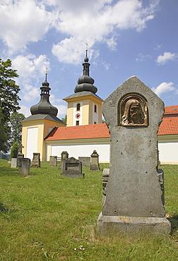 Gravestone in the historic cemetery of the pilgrimage church Maria Loreto in Star˝ Hroznatov, Altkinsberg, Cheb region, Eger, Boehmen, Egerland, Czech Republic, Europe