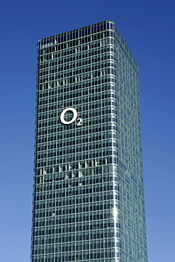 O2 (telecommunications company) logo on a high-rise in Munich, Bavaria, Germany, Europe