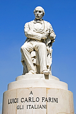 Stone memorial statue to Lugi Carlo Farini, prime minister, Ravenna, Emilia-Romagna, Italy