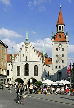 Munich, GER, 01. Jun. 2005 - Old Townhall will toy museum inside in Munich, view from Marienplatz.