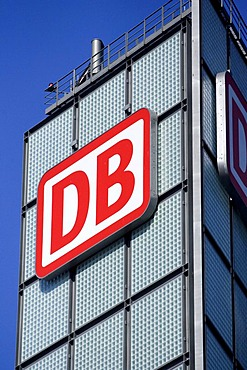 Berlin Hauptbahnhof Central Station with logo of Deutsche Bahn Berlin, Germany