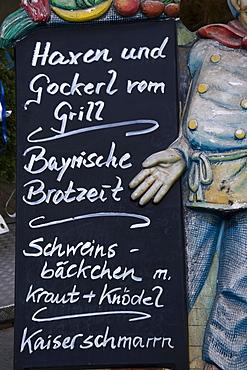 Bavarian menu