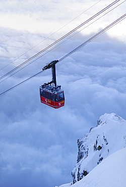 Fraekmuentegg gondola cableway going up Pilatus Kulm, Lucerne, Switzerland, Europe