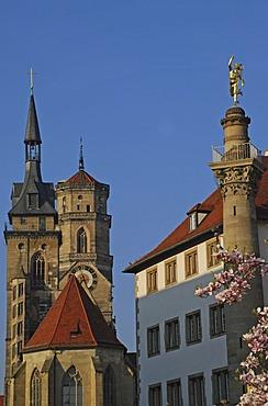 Towers of Collegiate Church  and Mercury column Stuttgart Baden-Wuerttemberg Germany