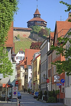Strohgasse with view af the big tower on the castle, Esslingen at the Neckar Baden Wuerttemberg Germany