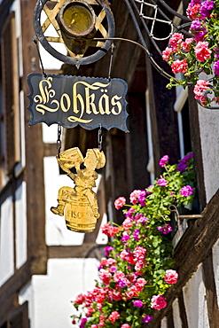 Sign, restaurant, Petite France, Strasbourg, Alsace, France, Europe