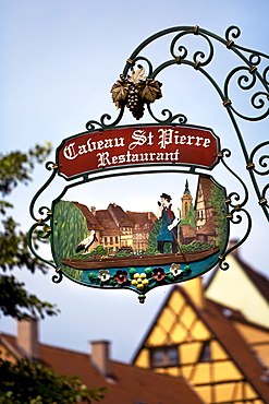 Sign, restaurant, historic town centre, Alsace, France, Europe