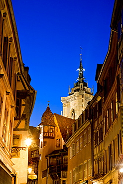 Evening atmosphere, historic town centre, Colmar, Alsace, France, Europe