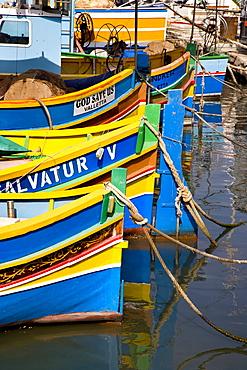 Typical Maltese fishing boat, Marsaxlokk, Malta, Europe