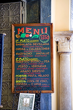 Menu, bar, Seville, Andalusia, Spain, Europe