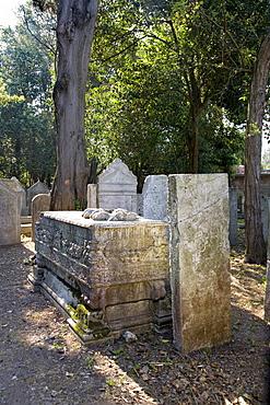 Graves in the Jewish cemetery, Lido, Venice, Venetian Lagoon, Italy, Europe