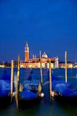 Gondolas in front of San Giorgio Maggiore, island, Venice, Veneto, Italy, Europe