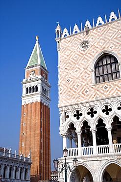Palazzo Ducale di Venezia, Doge's Palace and Campanile, Venezia, Venice, Italy, Europe