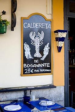 Menue of a restaurant in the historic city Dalt Vila, Ibiza, Balearic Islands, Spain, Europe