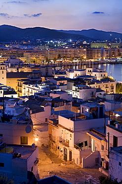 View of the illuminated harbour, Ibiza, Balearic Islands, Spain, Europe