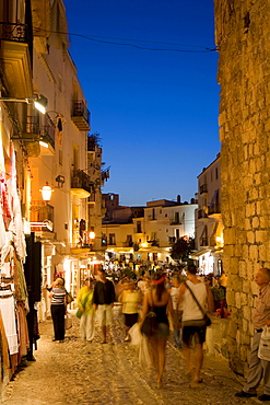 Illuminated alley in the historic city Dalt Vila, Ibiza, Balearic Islands, Spain, Europe