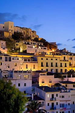 Illuminated historic city Dalt Vila, Ibiza, Balearic Islands, Spain, Europe