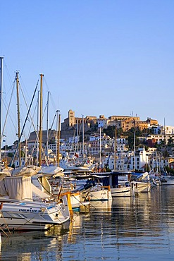 View over the ships in the harbour of Dalt Vila, historic centre, Ibiza, Balearic Islands, Spain, Europe