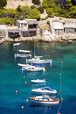 Boats in the bay of Cala Vadella, Ibiza, Balearic Islands, Spain, Europe
