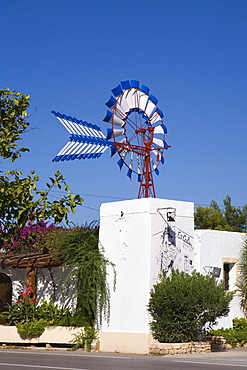 Es Caliu Restaurant in a typical Ibizan windmill, Ibiza, Balearic Islands, Spain, Europe