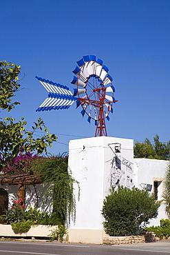 Es Caliu Restaurant in a typical Ibizan windmill, Ibiza, Balearic Islands, Spain, Europe
