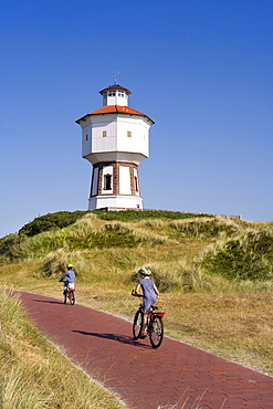 Water tower, bike path, Langeoog Island, East Frisian Islands, East Frisia, Lower Saxony, Germany, Europe