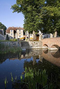 Moat around Mellenthin Castle, Usedom, Baltic Sea, Mecklenburg-Western Pomerania, Germany, Europe