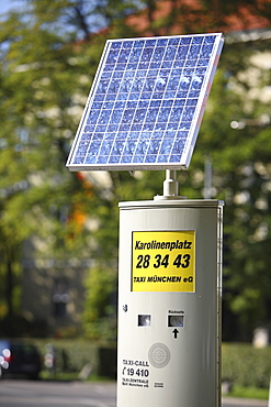Solar cell or panel on a taxi call box, Munich, Bavaria, Germany