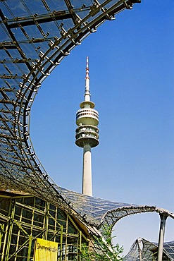 Olympic tower Olympiahalle with glass top of Olympic hall Munich Germany