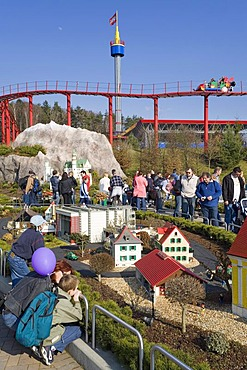 Impressions from the Legoland Park near Guenzburg, in the foreground the Miniland, in the background the aerial train and the look-out