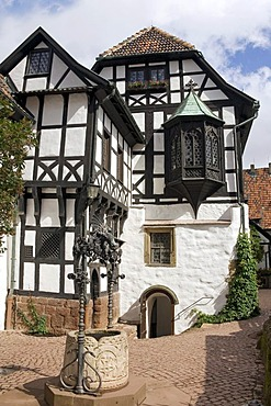 Inner courtyard of the famous Wartburg Castle, Eisenach, Thuringia, Germany
