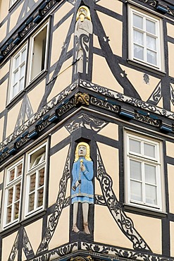 Figures and ornaments on the Raiffeisen-House, Eschwege, Hesse, Germany