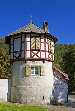 A tower on the wall around the convent of Blaubeuren, Baden-Wuerttemberg, Germany