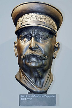 A bust of Ferdinand Graf von Zeppelin, Zeppelin Museum, Friedrichshafen, Baden-Wuerttemberg, Germany