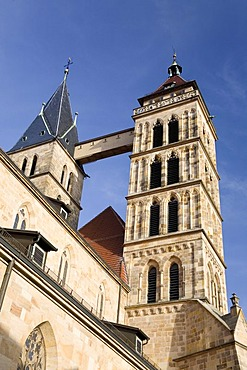 The two towers of the St. Dionys Church, Esslingen, Baden-Wuerttemberg, Germany
