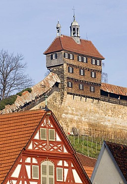 The old city wall of Esslingen with a guardhouse, Baden-Wuerttemberg, Germany