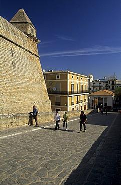 Dalt Vila, historic center of Ibiza or Eivissa in the evening light, Unesco World Heritage Site