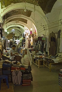 Vaulted ceiling in the clothing bazaar, souk, in the historic center of Tripolis, Tripoli, Libya