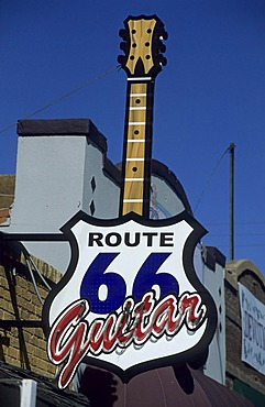 Sign of the historic route 66 in Amarillo, Texas, USA