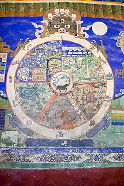Wallpainting, fresco, at the buddhist monastery of Thikse or Thiksay, Indus valley, Ladakh, Jammu and Kashmir, India