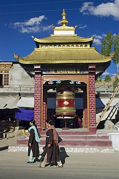 Large prayer mill in the historic center of Leh, Ladakh, Jammu and Kashmir, India