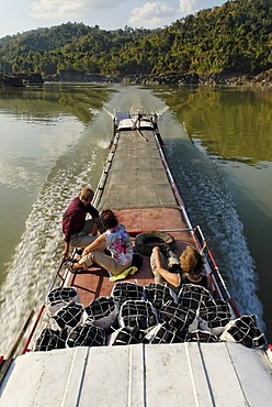 Speedboat on the Irrawaddy river, Myanmar