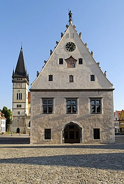 Gothic town hall at the city square of Bardejov, Unesco World Heritage Site, Slovakia