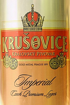 Czech beer can, beer from Krusevice, Bohemia, Czech Republic