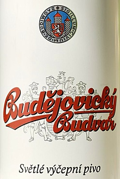 Czech beer can, beer from Cesky Budejovice, Budweis, Bohemia,  Czech Republic