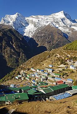 View over Namche Bazar towards Kongde Ri group (6187), Sagarmatha National Park, Khumbu, Nepal